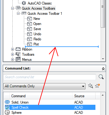 how to add quick access toolbar autocad
