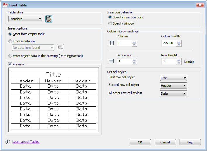 autocad 2010 user documentation insert table dialog box