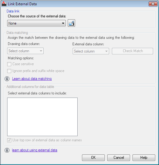 Command Reference: Link External Data Dialog Box