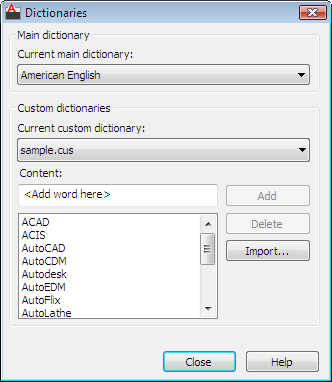 Command Reference: Dictionaries Dialog Box