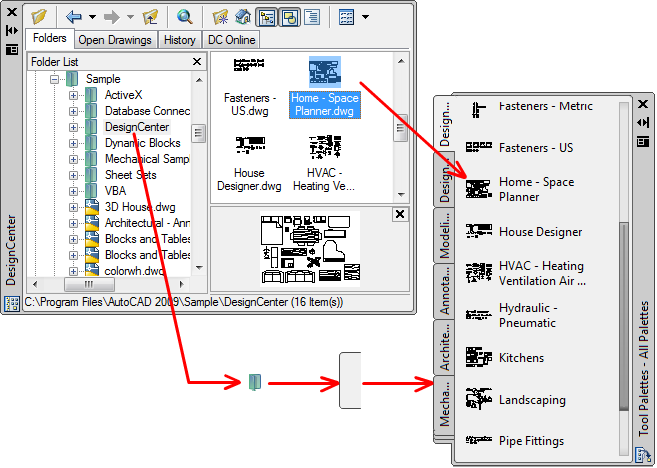 Users guide customize tool palettes create a tool palette tab with predetermined content by right clicking a folder a drawing file or a block in the designcenter tree view and then clicking ccuart Image collections