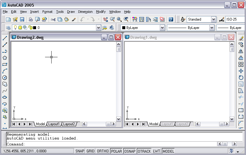 how to open multiple autocad drawings in one window