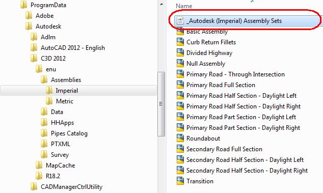 AutoCAD Civil 3D User's Guide: Assembly Sets