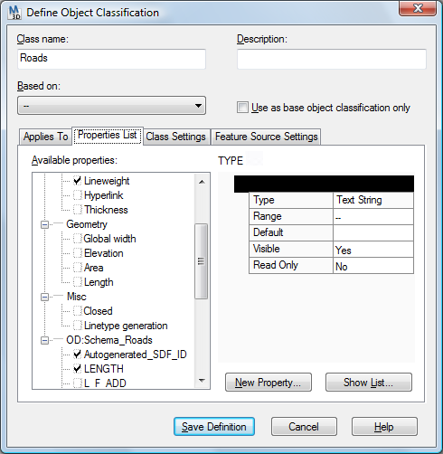 autocad map object data dictionary allowable values