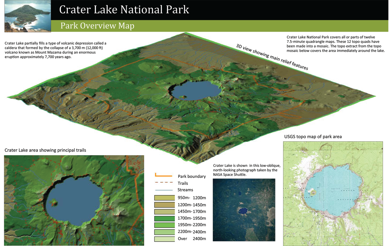 Crater Lake National Park Map - Us map crater lake
