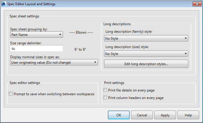 Spec Editor: Spec Editor Layout and Settings Dialog Box